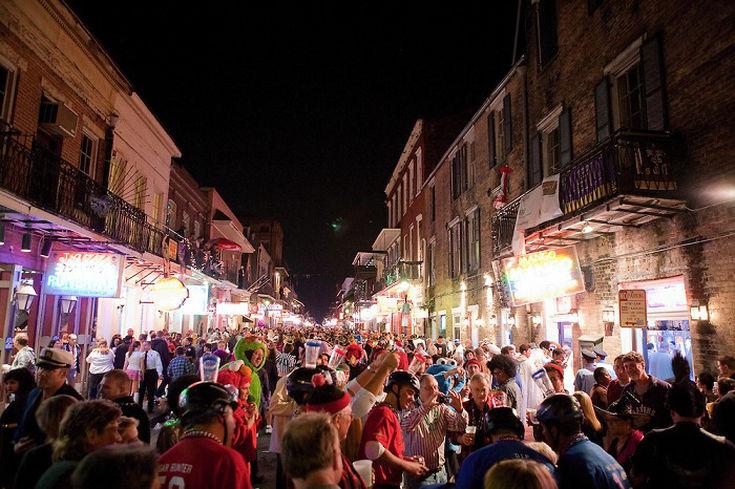 Bourbon Street in New Orleans on Halloween